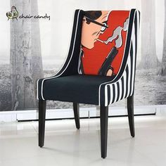 @Charity Briere Candy's Denver chair in 'Smoking Gun' pop art in design with black and white custom stripe on linen look fabric