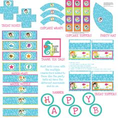 Printable Personalized Colorful And Fun Mermaid Birthday Party Pack. $19.99, via Etsy.
