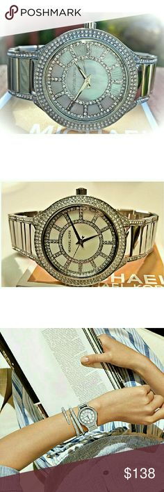 Michael Kors Kerry Glitz MK 38mm watch MK3311 Guaranteed Authentic Kerry MK3311 / Retail: $275 / Silver stainless steel band / New with MK watch box and warranty booklet included / Mother of pearl Glitz dial / 38mm / 5 ATM / UPC: 796483113015 / No trades, buy now or offer only. Michael Kors Accessories Watches