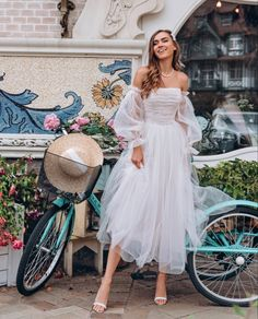 White wedding dress by Dream&Dress. Bohemian off shoulder dress, tulle delicate bridal gown, ball or prom dress, A-line light dress, rustic bride Blush Pink Wedding Dress, Bohemian Wedding Dresses, Tulle Wedding, Dress Wedding, Cocktail Wedding Dress, Bride Party Dress, Dinner Party Dresses, Dress For Dinner, Marriage Party Dress