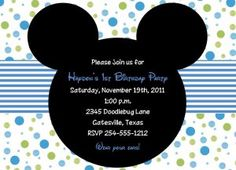 Mickey Mouse Baby Shower/Birthday Invitations  Use reverse with planes