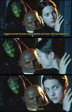 Yes, Strax, because melting him first makes it hard to interrogate him...[gif]