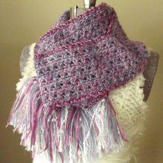 Soft Crochet Scarf Hyacinth Pink Blue Lavender by GypsythatIwas, $36.00