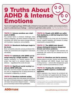 ADHA and Intense Emotions When most people think of ADHD, they think of hyperactive behavior or difficulties paying attention. What often doesn't spring to mind are intense emotional ups and downs. Adhd Odd, Adhd And Autism, Autism Parenting, Parenting Plan, Adhd Help, Adhd Brain, Adhd Diet, Adhd Strategies, Parenting Hacks