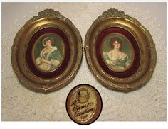 Pair of Vintage Cameo Creations Framed Portrait by PuppyLuckArt