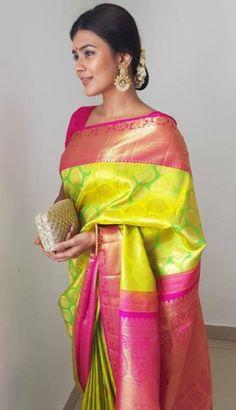 A must-have silk sari for wardrobe. All about luxurious Kanchipuram silk saree and its importance. Pattu Sarees Wedding, Indian Bridal Sarees, Bridal Silk Saree, Soft Silk Sarees, Phulkari Saree, Silk Saree Kanchipuram, Kanjivaram Sarees, Traditional Sarees, Traditional Wedding