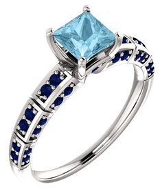 ApplesofGold.com - Princess-Cut Aquamarine and Sapphire Ring in 14K White Gold