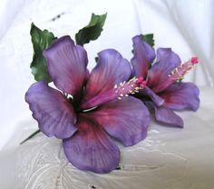 PURPLE MAGIC HIBISCUS Gum Paste Flowers