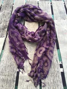 Fancy this gorgeous fern print? Beautiful light weight loose weave summer scarf in purple and cream