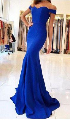 Royal Blue Off-the-Shoulder Mermaid Long Prom Dress, Evening #prom #promdress #dress #eveningdress #evening #fashion #love #shopping #art #dress #women #mermaid #SEXY #SexyGirl #PromDresses