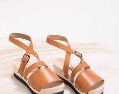 orange leather shoes, Womens clogs, wooden clogs, sandal clogs, summer clogs, yellow shoes, ocher shoes