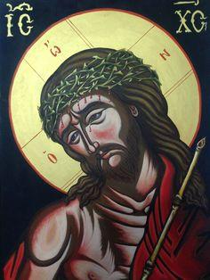 """Δια χειρός Χαράλαμπος κ' Φλώρα  """"O Νυμφίος """" """"The Bridegroom"""" Egg tempera on wood. 39 x 50 cm"""