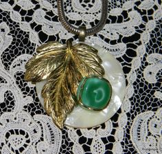 Vintage Butter and Mint with Gold Leaf Pendent by RustIsVogue, $34.00