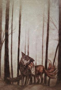 My Teen Wolf Sterek drawing - Derek ( wolf ) and Stiles ( fox - nogitsune looking. .but nice)