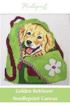 Stitch your favorite pup with this adorable golden retriever hand painted needlepoint canvas from Needlepoint.Com. #PLDjmkl1002