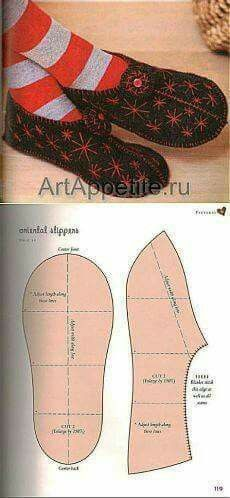 How to Make Fabric Slippers with Free Pattern www. Sewing Hacks, Sewing Tutorials, Sewing Crafts, Sewing Projects, Sewing Patterns, Crochet Shoes, Crochet Slippers, Sewing Clothes, Diy Clothes