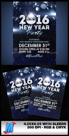 New Year Party Flyer Template PSD #design Download: http://graphicriver.net/item/new-year-party-flyer-template/14140244?ref=ksioks