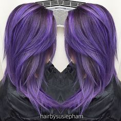 """Susie P on Instagram: """"Haircut and Color. Transformed my girl today with #pravanavivids @pravana @guy_tang. Used deep Violet as Formula 1 at her roots and smudged it down to where the brass ends, then melt it into Formula 2 (mixture of Silver and a dot of Blue with a dot of Violet added Olaplex 2 to dilute the color)."""""""