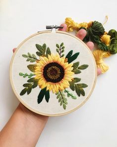"It is THE LAST DAY to get the sunflower pattern! Go to the link in my bio and click ""monthly pattern subscription"" 🌻🌿 Hand Embroidery Videos, Floral Embroidery Patterns, Simple Embroidery, Hand Embroidery Stitches, Embroidery For Beginners, Embroidery Hoop Art, Hand Embroidery Designs, Bead Embroidery Tutorial, Hand Embroidery Flowers"