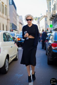 Milan FW SS2014 after Blumarine fashion show street style street fashion by STYLEDUMONDE  25 May '14 After Blumarine fashion show: A fashion editor wearing a crop top, a midi length skirt & a cardigan. (по датам смутно с пред. ф.)