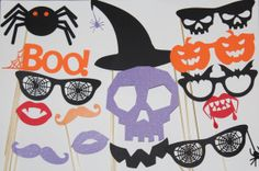 20 Piece Halloween Photoprops, Photobooth, Mustaches and lips, Halloween Party Props, Halloween Party Supplies, Props on Etsy, $30.00