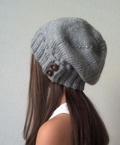 Knit slouchy hat - CHARCOAL GRAY (more colors available - made to order). $35.00, via Etsy.