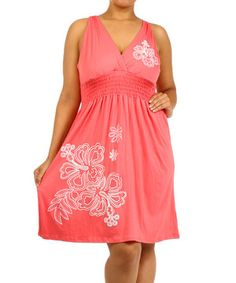 Another great find on #zulily! Coral Floral Surplice Dress - Plus by J-MODE #zulilyfinds