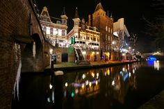 Utrecht, Canal at night Utrecht, Rotterdam, Netherlands, Night, Canvas, Places, Water, Prints, Country