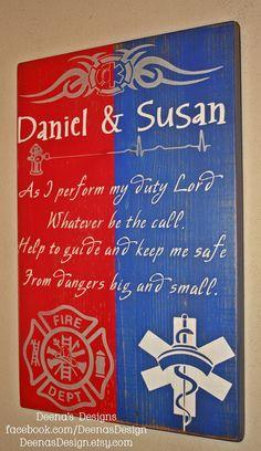 Firefighter/Nurse Hybrid Wall Art, Firefighter/ Nurse Decor, Distressed Decor, Custom Wood Sign - As I Perform My Duty - smaller version on Etsy, $41.00
