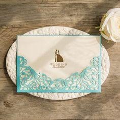 elegant tiffany blue laser cut pocket foil bride and groom weding invitations EWWS123