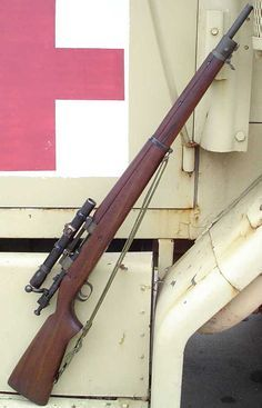 Springfield M1903A4 (sniper) Rifle with a M84 Scope - An American clip-loaded, 5-shot, bolt-action service rifle used primarily during the first half of the 20th century. After Korean War, some numbers of them remained in USMC sniper use as late as the Vietnam War.