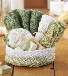 Free Knitting Pattern for Aubrey Spa Set - Pampering spa set includes patterns for face pads, washcloths, and a matching basket. Fill it with handmade bath soaps and you have the perfect gift!