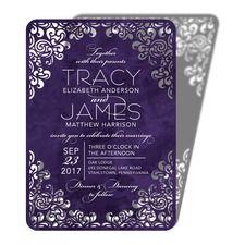 Flourishing Diamond Purple Wedding Invitations