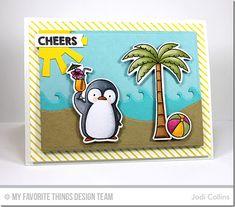 Penguins in Paradise stamp set and Die-namics, Diagonal Stripes Background, Making Waves Die-namics, Stitched Snow Drifts Die-namics, Sun Moon & Stars Die-namics - Jodi Collins #mftstamps
