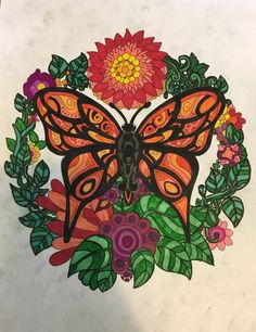 ColorIt Free Coloring Pages Colorist: Nicole Eytchsion #adultcoloring #coloringforadults #adultcoloringpages #freebiefriday #butterfly