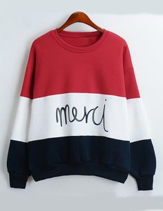 Shop Colour-block Round Neck Letters Print Sweatshirt online. SheIn offers Colour-block Round Neck Letters Print Sweatshirt & more to fit your fashionable needs.