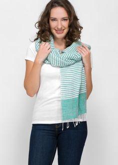 Gestreifter Leinenschal. Handgewebt aus Indien! Rock, Fair Trade, Tunic Tops, Fashion, Indian, Clothing, Cotton, Gowns, Women's