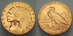 U.S. Gold Coins of the Nineteenth and Early Twentieth Century: The 1909D Indian Head Half Eagle U.S. Gold Coin (Five Dollar Gold Piece)