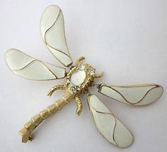 age White Enamel Trembler Dragonfly Brooch Hattie Carnegie