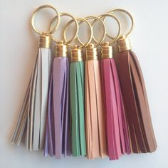 Pastel Leather Tassel Keychain - Slate Gray, Lavender, Mint Seafoam Green, Rose Pink, Light Peach, Tan - Jcrew / Coach inspired; pjandpoppy, $16.00