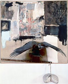 Robert Rauschenberg, Canyon, 1959, Oil, pencil, paper, metal, photograph, fabric, wood, canvas, buttons, mirror, taxidermied eagle, cardboard, pillow, paint tube and other materials, 207.6 x 177.8 x 61 cm (The Museum of Modern Art) © 2014 Robert Rauschenberg Foundatio
