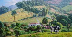 TÚLIO DIAS -  Paisagem com vaca e bezerro  - Óleo sobre tela - 90 x 150 - 2011     Muitas composições de Túlio Dias nascem da junção de v...