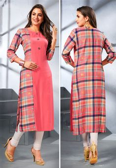 Get a collection of indian kurti and kurti online. Order this rayon peach party wear kurti for festival and party. Salwar Neck Designs, Kurta Neck Design, Kurta Designs Women, Dress Neck Designs, Designs For Dresses, Blouse Designs, Printed Kurti Designs, Simple Kurti Designs, Fancy Kurti