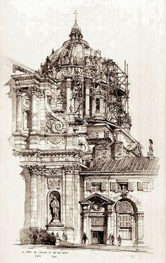 Samuel Chamberlain (1895-1975-American) - Le Dome de l'Eglise du Val de Grace, Paris - 1924
