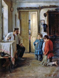 """The Tutor"",  Painting by Mikhail Emelianovich,  Russian"