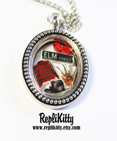 Freddy Krueger - Nightmare on Elm Street Horror Movie Inspired Locket for Halloween - Freddy Fans!  Request a custom locket at www.replikitty.etsy.com and have something made just for you!  Perfect gift!  Handmade in the USA only by RepliKitty! Custom Freddy Necklace - $39 #jewelry #horror #halloween #freddykrueger #elmstreet #freddyvsjason