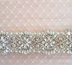 SALE Swarovski Pearl Rhinestone Wedding Dress Sash. $125.00, via Etsy.