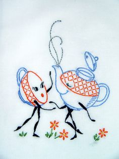 TEA FOR TWO - hand embroidered flour sack tea towel
