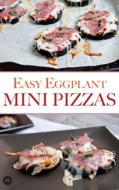 Easy Eggplant Pizzas: Baked eggplant rounds topped with easy pizza toppings like cheese, pepperoni, and oregano. A great quick, warm snack!
