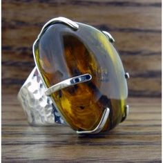 Amber Silver Ring | Handmade Mexican jewellery from Silver Bubble